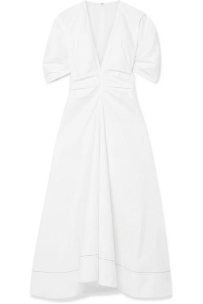 Proenza Schouler - Gathered Stretch-cotton Poplin Midi Dress - White
