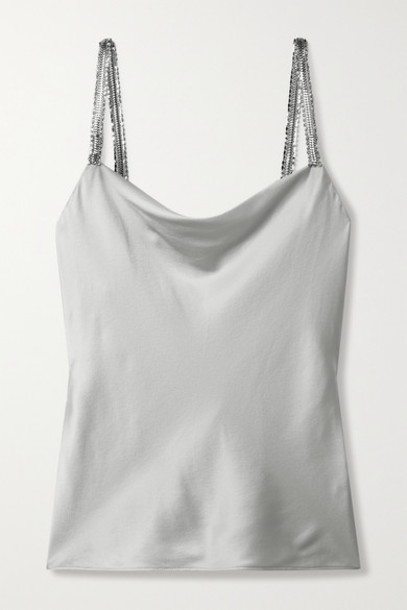 Cami NYC - Felicity Crystal-embellished Silk-blend Charmeuse Camisole - Silver