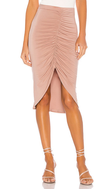 Privacy Please Fabienne Midi Skirt in Taupe