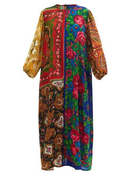 Rianna + Nina Rianna + Nina - Patchwork Floral-print Wool-twill Maxi Dress - Womens - Multi