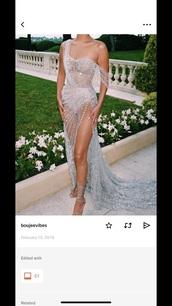 dress,silver diamond embroidered long  slit