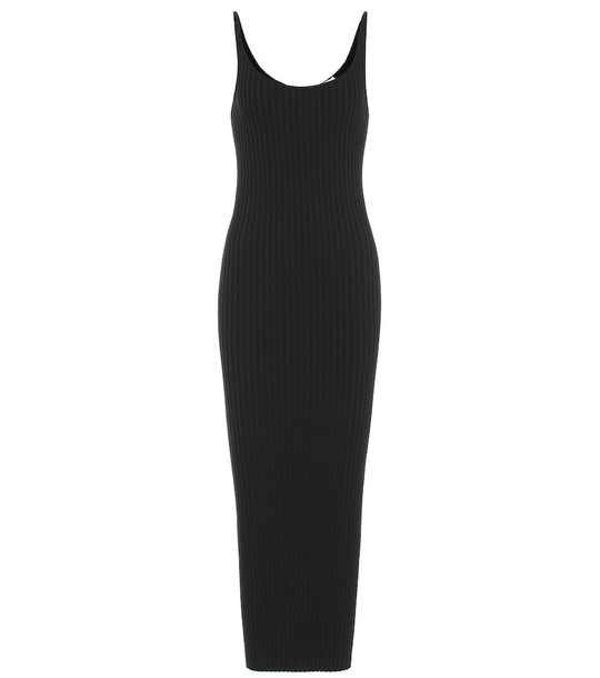 Paco Rabanne Ribbed-knit cotton dress in black