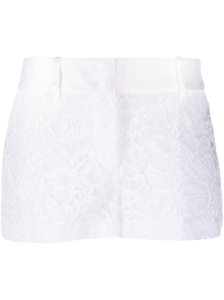 Ermanno Scervino satin-trim lace shorts in white