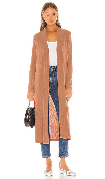 Michael Stars Candice Long Cardigan in Brown