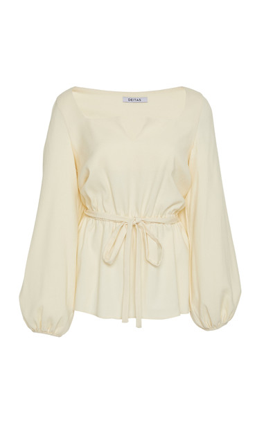 Deitas Liz Wool Blend Gathered Blouse in white