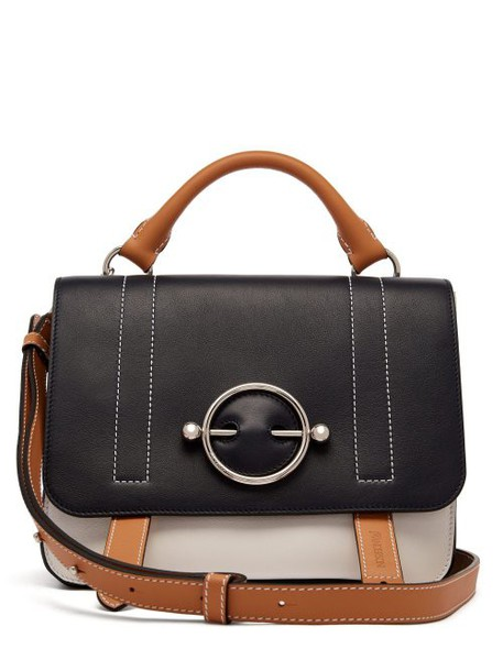 Jw Anderson - Disc Leather Satchel Bag - Womens - Navy Multi