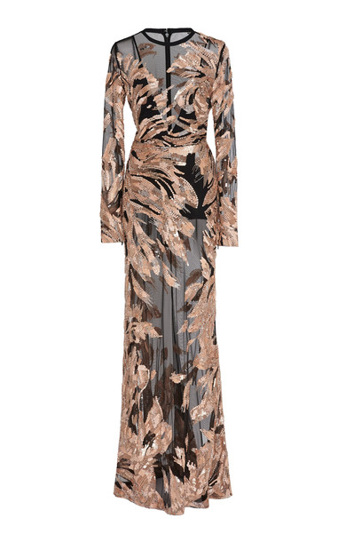Elie Saab Sequined Tulle Gown in print