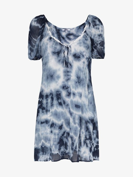 Miaou tie-dye flared mini dress in blue