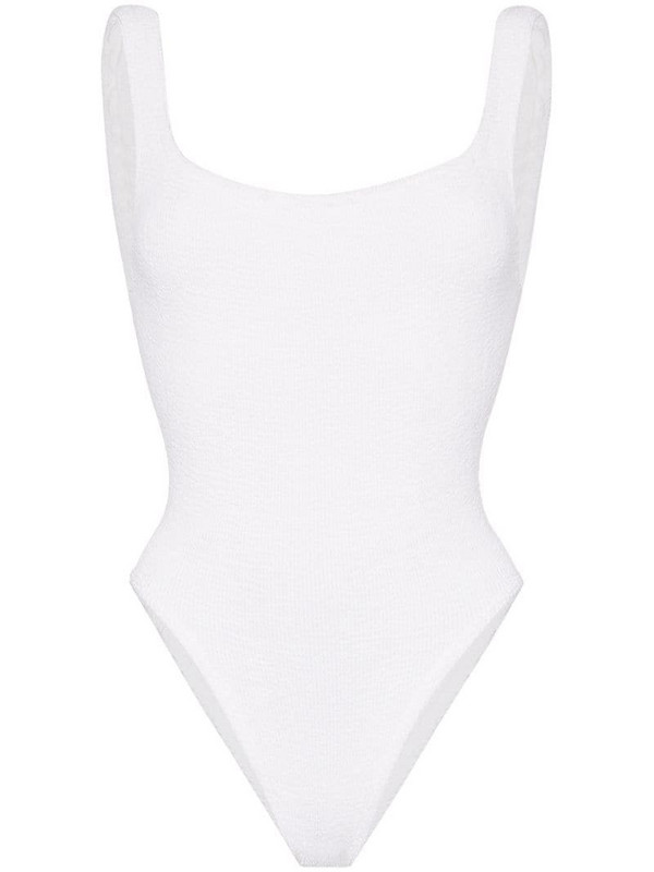Hunza G classic crinkle swimsuit in white