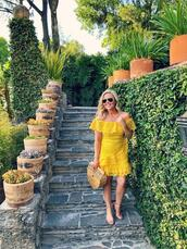the fashion canvas – a fashion & lifestyle blog,blogger,dress,shoes,sunglasses,bag,yellow dress,lace dress,cult gaia bag,summer outfits