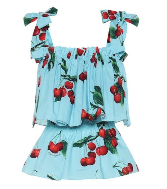 Dolce & Gabbana Exclusive to Mytheresa – cherry printed cotton top in blue