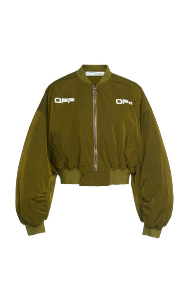 Off-White c/o Virgil Abloh Logo Cropped Bomber Jacket in green