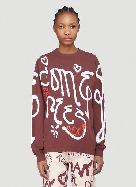 Come Tees Spray Logo Print Sweatshirt in Brown size M