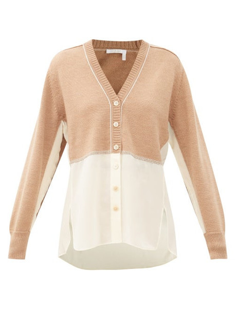 Chloé Chloé - Silk-georgette And Knitted Wool Cardigan - Womens - Light Brown