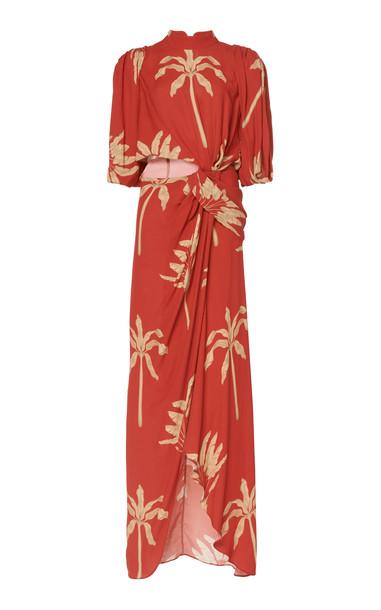 Johanna Ortiz Sprawling Art Printed Crepe De Chine Maxi Dress Size: 2 in print
