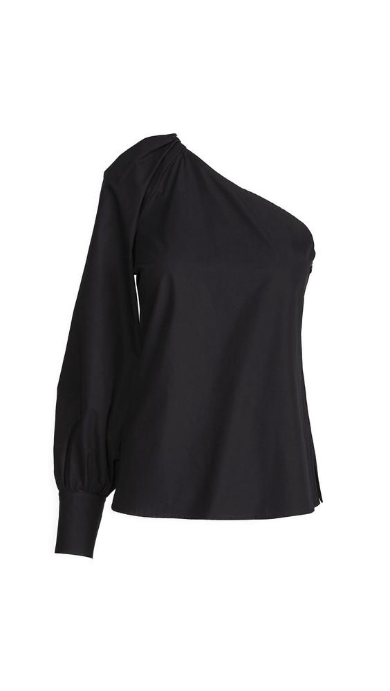 Derek Lam 10 Crosby Elodie One Shoulder Blouse in black