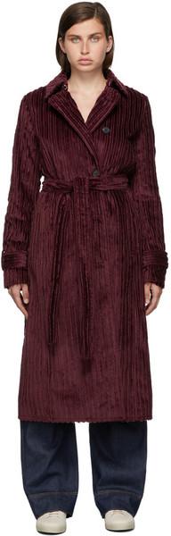 Victoria Victoria Beckham Burgundy Velvet Belt Cord Coat in red
