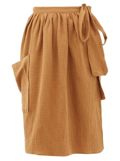 Loup Charmant - Tofo Patch-pocket Cotton-gauze Wrap Skirt - Womens - Tan