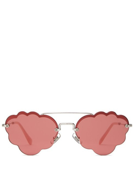 Miu Miu - Cloud Frame Rimless Metal Sunglasses - Womens - Pink