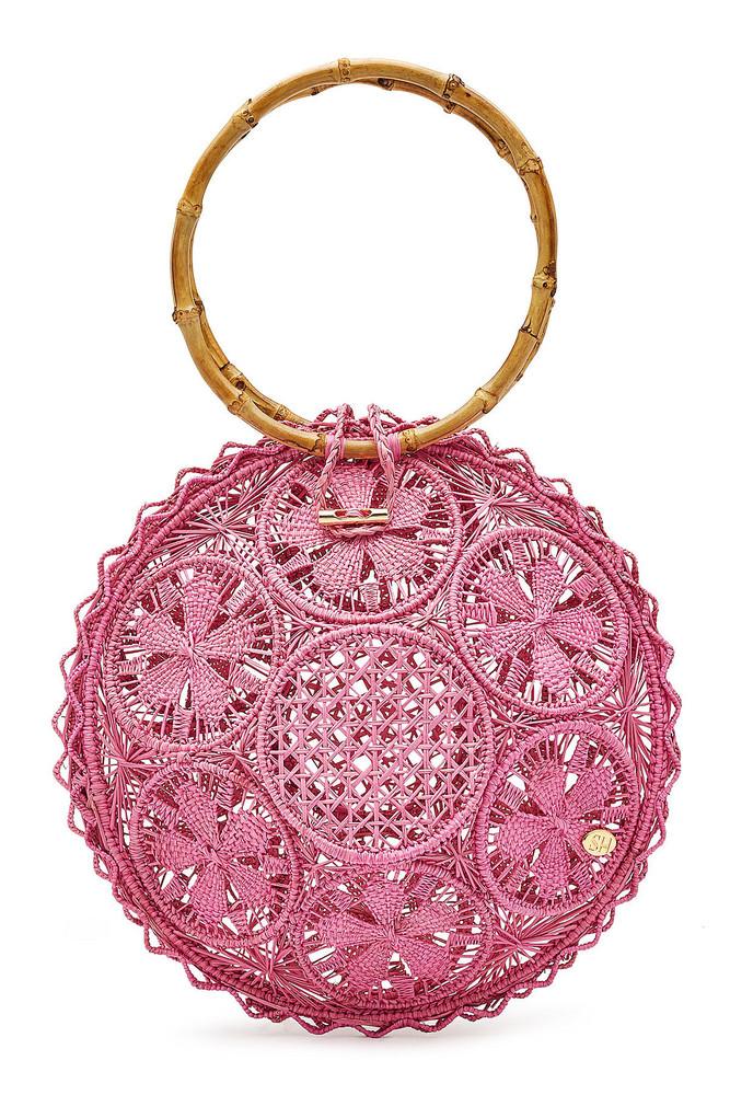Soraya Hennessy The Ana Handwoven Handbag with Bamboo  in magenta