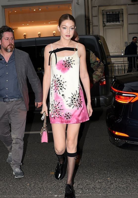 dress pink pink dress gigi hadid socks model off-duty celebrity fashion week