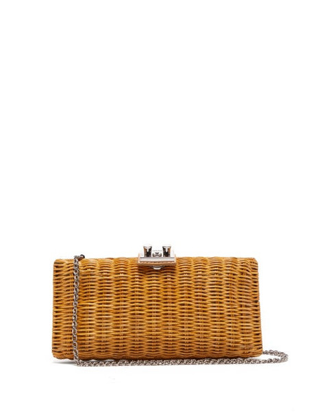 Rodo - Leather Trimmed Wicker Clutch Bag - Womens - Beige