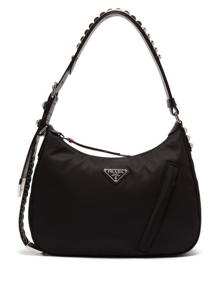 Prada - New Vela Studded Nylon Shoulder Bag - Womens - Black Multi