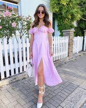 dress,midi dress,pink dress,off the shoulder dress,platform shoes,white bag