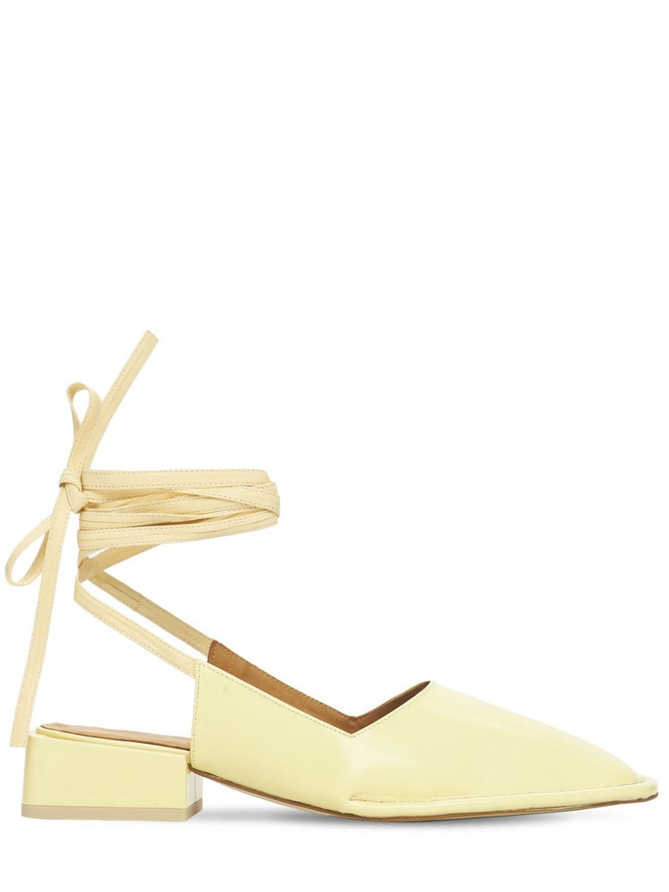 MIISTA 35mm Sierra Leather Lace-up Pumps in beige