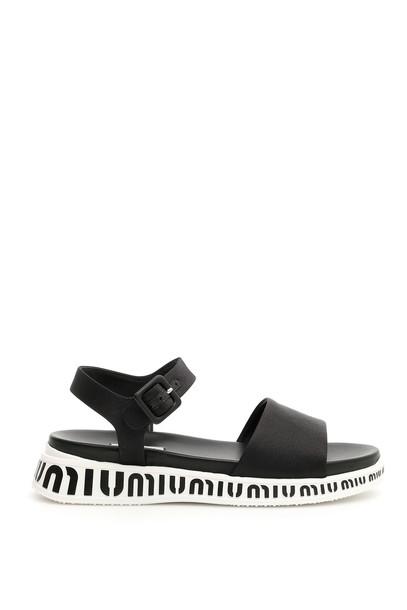 Miu Miu Logo Sandals in black