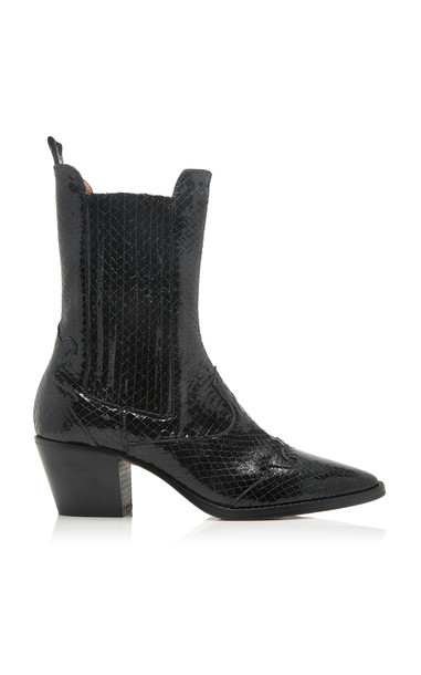 Paris Texas Snake-Effect Patent Leather Boots in black