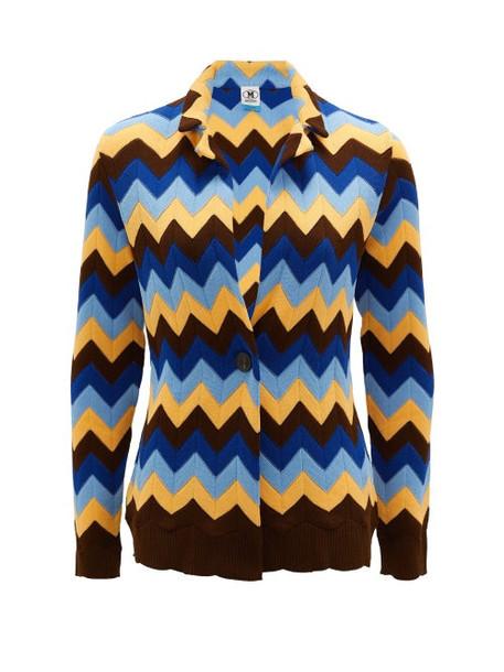 M Missoni - Zigzag-knitted Cotton Cardigan - Womens - Blue Multi