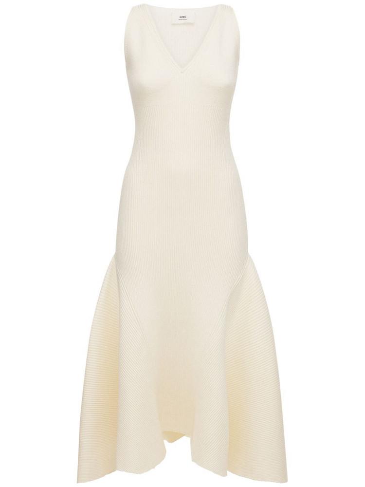 AMI PARIS Knit Sleeveless Long Dress W/ruffles in ivory