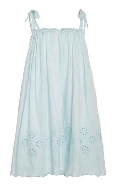 Innika Choo Nev Erontym Eyelet Hem Cotton Dress Size: 1 in blue
