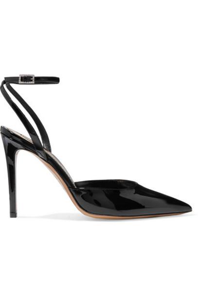 Alexandre Vauthier - Carine Crystal-embellished Patent-leather Pumps - Black