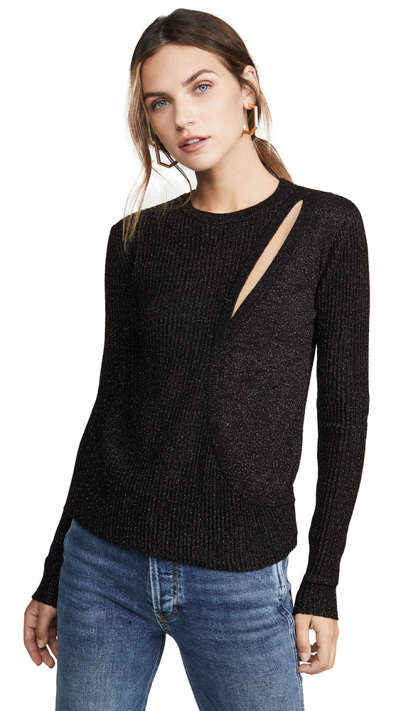 Michelle Mason Asymmetrical Layered Sweater in black