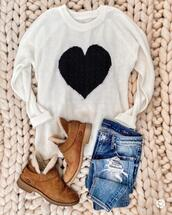 mrscasual,blogger,sweater,jeans,shoes,sunglasses,bag,ugg boots,ripped jeans,heart sweater,winter outfits