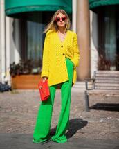sweater,oversized cardigan,yellow,marc jacobs,wide-leg pants,high waisted pants,handbag,burberry