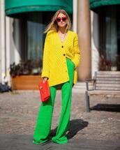 sweater,oversized cardigan,yellow,marc jacobs,wide-leg pants,high waisted pants,handbag,burberry