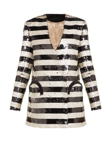 Blazé Milano - Kelpie Striped Sequinned Double Breasted Blazer - Womens - Black White