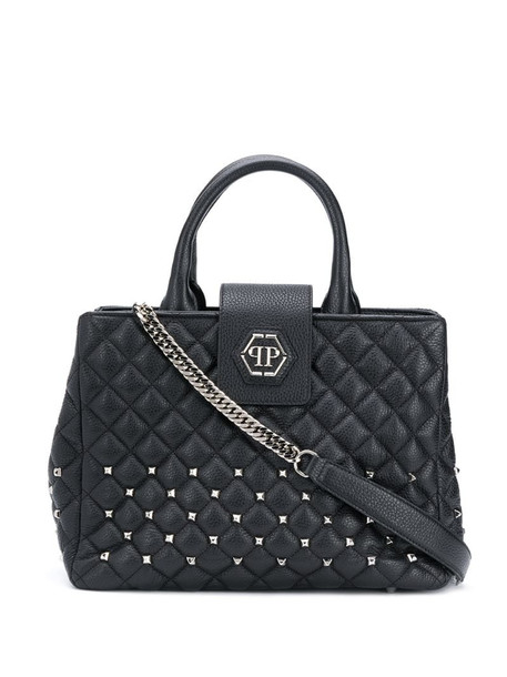 Philipp Plein stud-embellished quilted tote in black