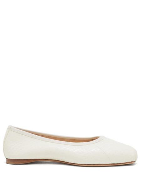 Gabriela Hearst - Nata Square Toe Snakeskin Flats - Womens - Cream