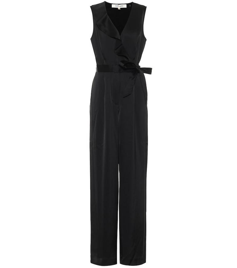 Diane von Furstenberg Sol wide-leg satin jumpsuit in black