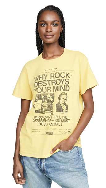 R13 Why Rock Destroys Your Mind Boy Tee in yellow