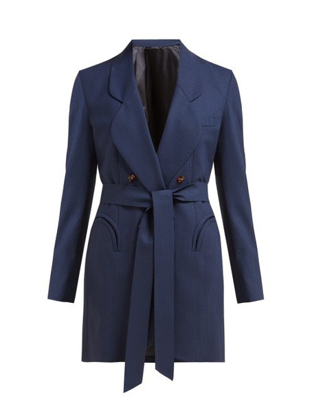Blazé Milano - Tonino Double Breasted Houndstooth Wool Blazer - Womens - Navy Multi