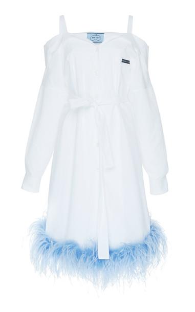 Prada Cold-Shoulder Poplin Shirt Dress in white