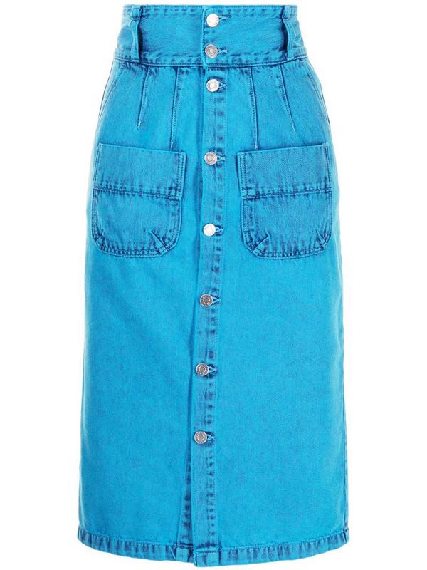 SJYP high-waisted pencil denim skirt in blue