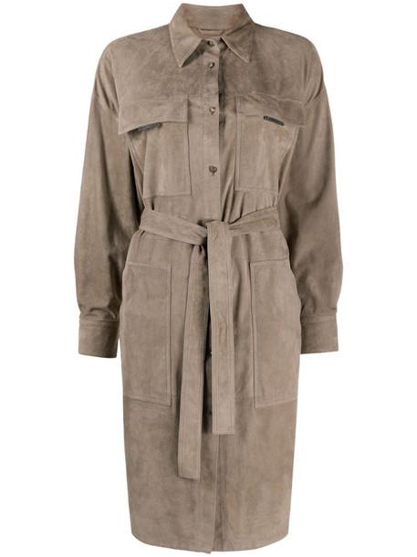 Brunello Cucinelli point-collar tie-waist trench coat in grey