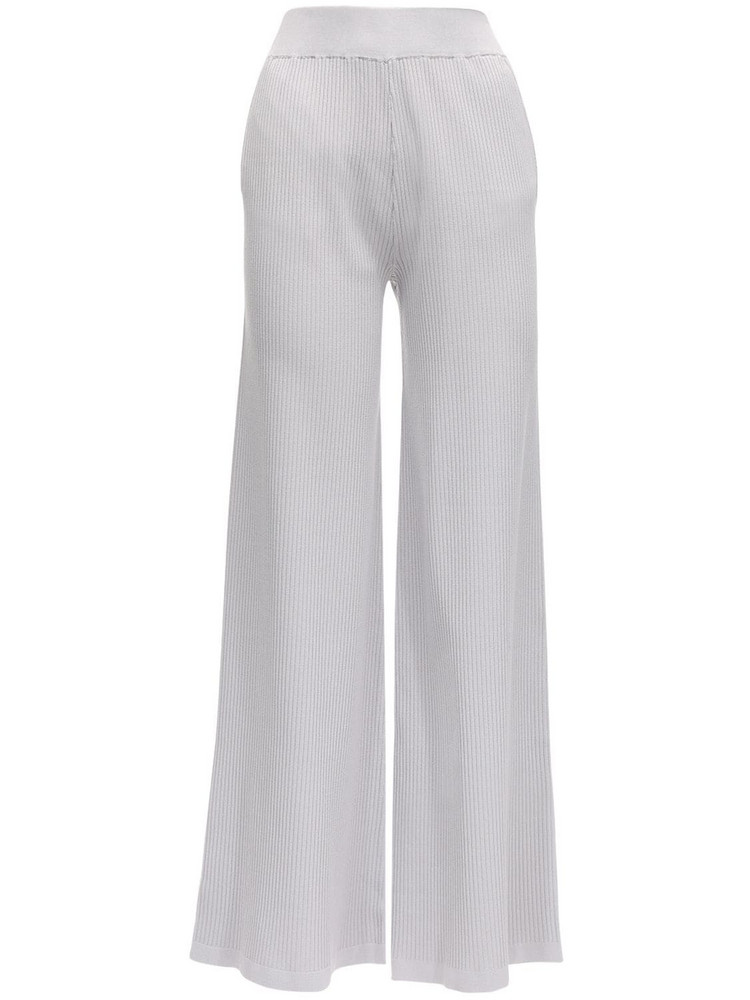 AYA MUSE Elettra Ribbed Stretch Viscose Pants in grey