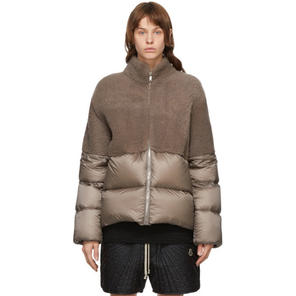 Rick Owens Taupe Moncler Edition Down Coyote Jacket